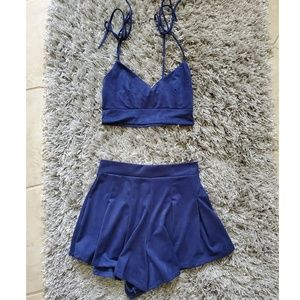 Lucy in the sky 2 piece suede set top and shorts